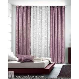 Cortina Ollaos Estampada Estándar VD-5094 Blanco (se vende el visillo central, no incluidas las cortinas de los lados)
