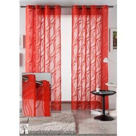 Cortina Ollaos Estampada Estándar Tori color Rojo