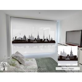 Estor Enrollable Fotográfico Dormitorio Cinamomo Blanco y Negro