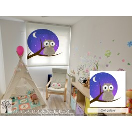 Estor Enrollable Fotográfico Infantil 02 Owl Galaxy