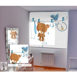 Estor Enrollable Fotográfico Infantil Teddy Azul