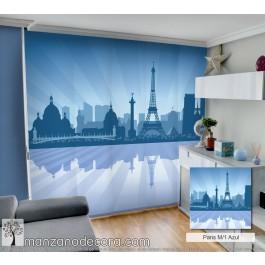 Panel Japonés Fotográfico City Silhouette Paris M/1 Azul
