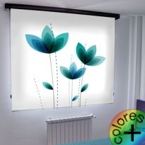 Estor Enrollable Fotográfico Dormitorio Pandanus Azul Turquesa