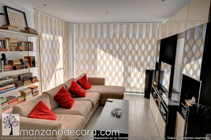 Cortinas verticales y Paneles Japoneses salón, perfectos para ventanales