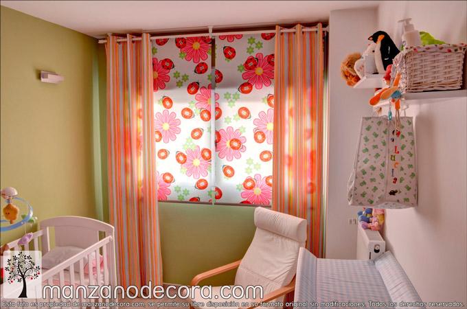 Decoración infantil con tus telas favoritas en cortinas y estores