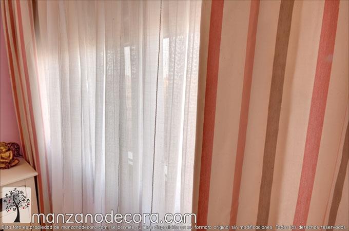 detalle de cortina tejido a rayas