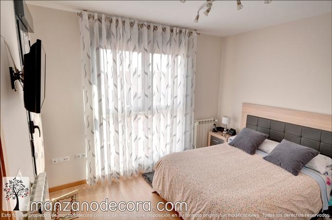 cortina de ollaos estampada en dormitorio grande