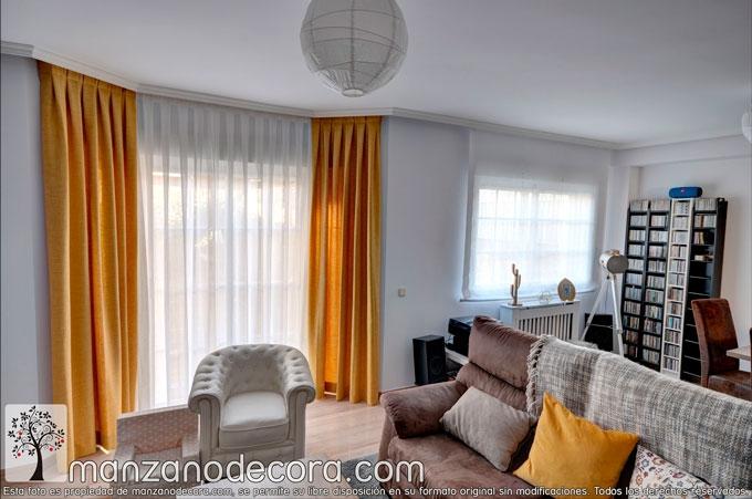 cortinas de colores en salon