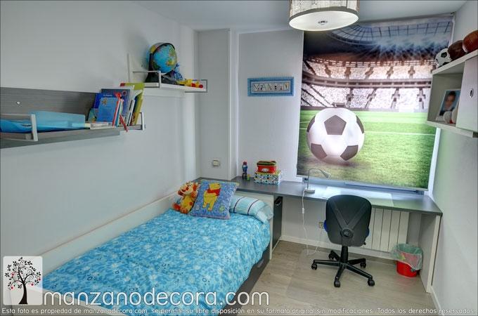 Estor enrollable fotográfico para niño futbol