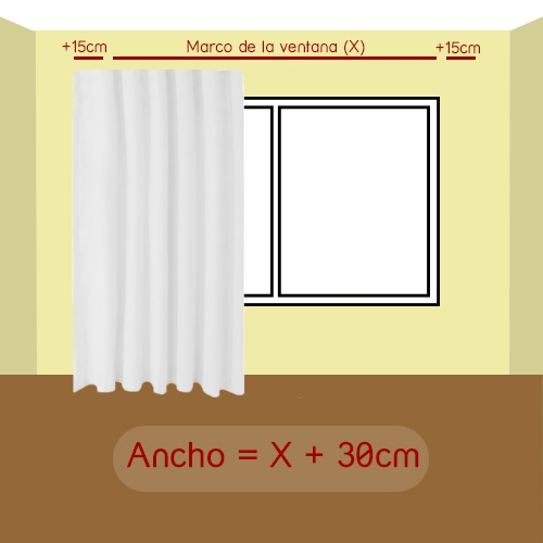 ancho de la cortina
