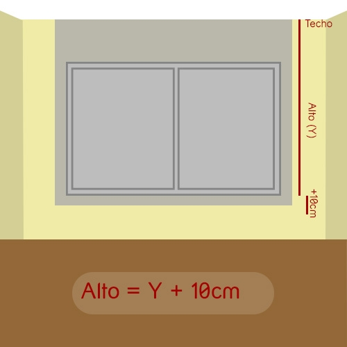 como medir alto del estor a techo