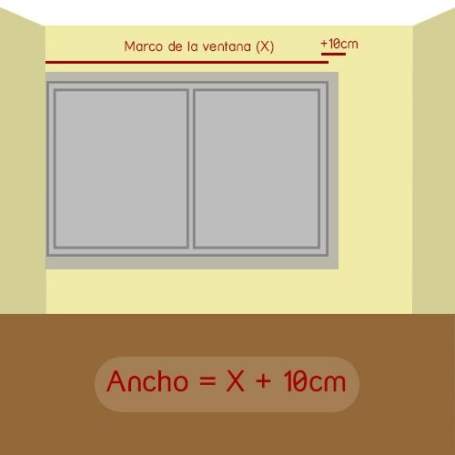 cómo medir ancho del estor con ventana pegada a un lado