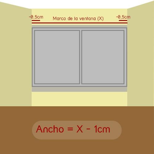como medir ancho del estor en ventana encajada