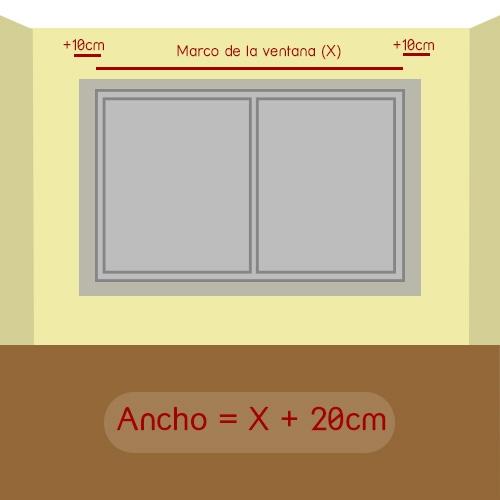 cómo medir ancho del estor