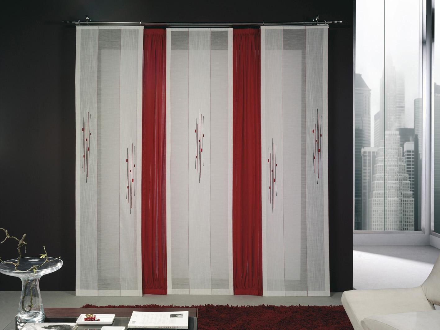Paneles japoneses bordados cortinas manzanodecora - Cortinas de paneles japoneses ...