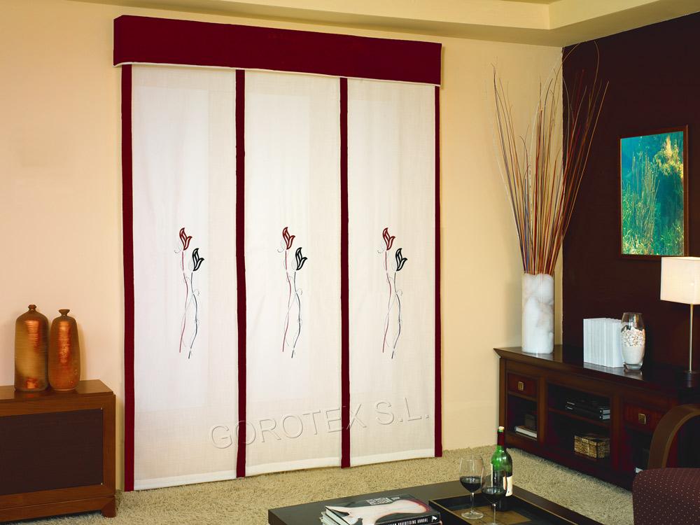 Paneles japoneses bordados cortinas manzanodecora - Cortinas estilo japones ...