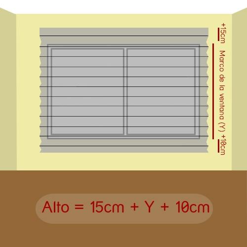 cómo medir alto plisada pared