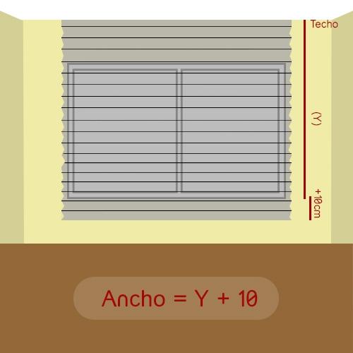 cómo medir alto plisada a techo