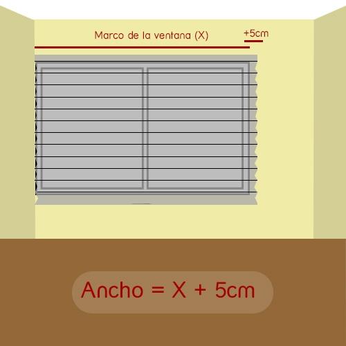 cómo medir ancho plisada un lado