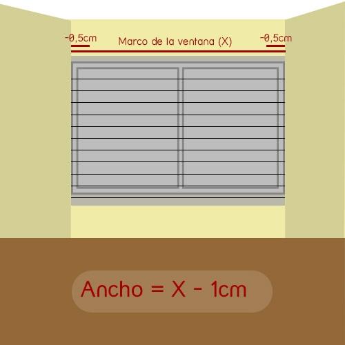 cómo medir ancho veneciana encajada