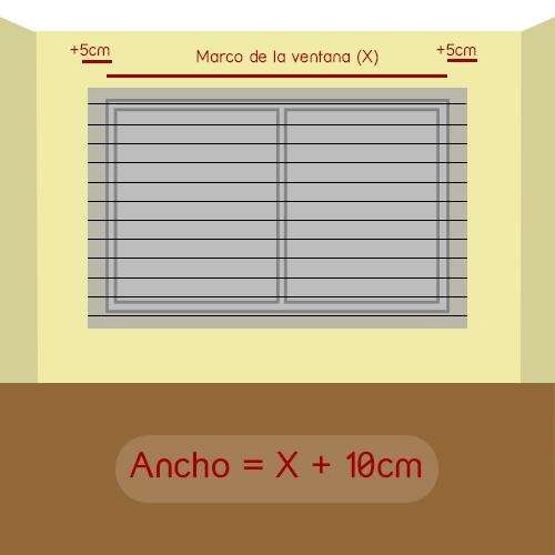 cómo medir ancho veneciana normal
