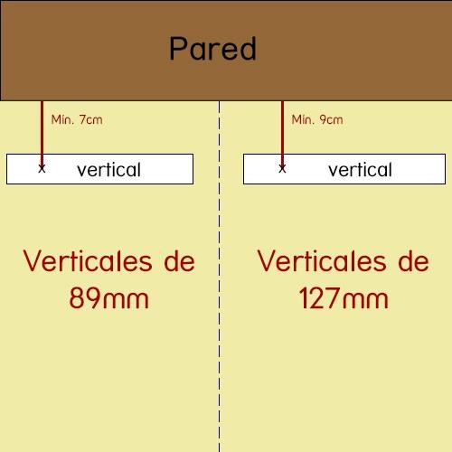 distancia separación vertical 89mm