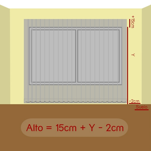 cómo medir alto vertical tejido pared