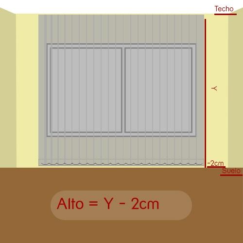 cómo medir alto vertical tejido a techo
