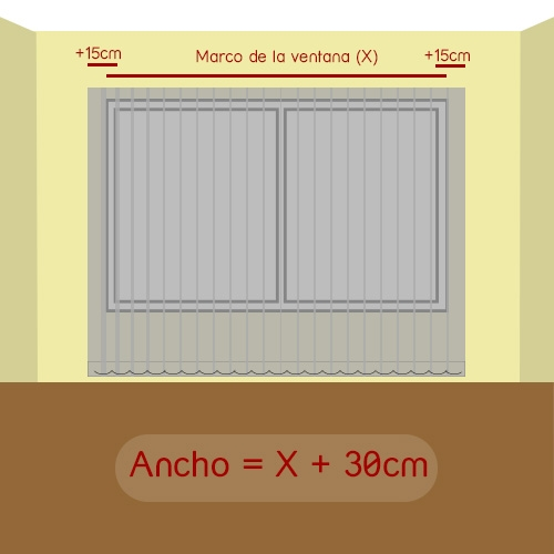 cómo medir ancho cortina vertical de tejido